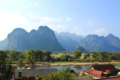 View of Vang Vieng Royalty Free Stock Images