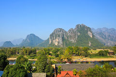 View of Vang Vieng Royalty Free Stock Photography