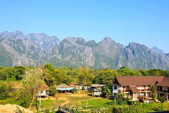 View of Vang Vieng Stock Photo