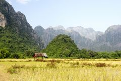 View of Vang Vieng mountains in Laos stock images