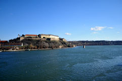 The view from Varadin bridge on the international river the Danube and the fortress which is made in the 1780 year. On the coast of capital city of province Stock Photo