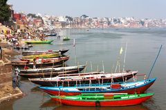 View of Varanasi with boats Stock Photos