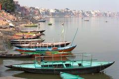 View of Varanasi with boats on sacred Ganga River Royalty Free Stock Photos