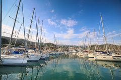 View of Varazze Marina in Liguria, Italy. With yachts and blue sky background Royalty Free Stock Photos