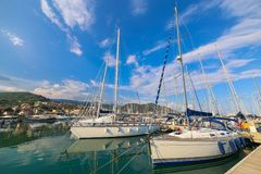 View of Varazze Marina in Liguria, Italy. With yachts and blue sky background Royalty Free Stock Images