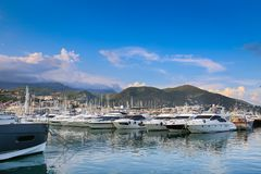 View of Varazze Marina in Liguria, Italy. With yachts and blue sky background Stock Photos