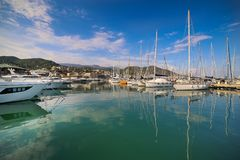 View of Varazze Marina in Liguria, Italy. With yachts and blue sky background Royalty Free Stock Photo