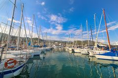 View of Varazze Marina in Liguria, Italy. With yachts and blue sky background Stock Photography