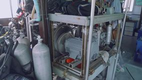View of various diving equipment on ship board. View of diving equipment on ship board stock video