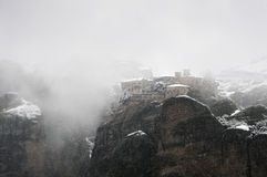 View of Varlaam monastery in winter, Meteora Royalty Free Stock Photos