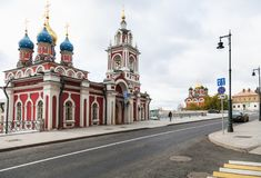 View of Varvarka street in center of Moscow city stock photos