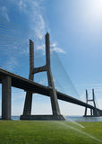View of Vasco da Gama bridge in Lisbon Royalty Free Stock Images