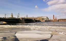 St. Petersburg, View on Vasilevsky Island. View on Vasilevsky Island, the Stock Exchange and rastralnye column Royalty Free Stock Photography
