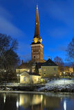 View of the Vasteras Cathedral in winter morning, Sweden Stock Images