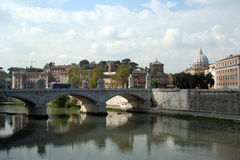 View of Vatican City. The Ponte Sant'Angelo spans the Tiber riber as we see the Vatican in the distance royalty free stock images