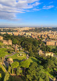 View at the Vatican Gardens in Rome. From the dome of St. Peter Stock Photo