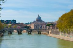 View of the Vatican, Rome. Sunny view at Tiber and St. Peter's cathedral, Rome Royalty Free Stock Photography