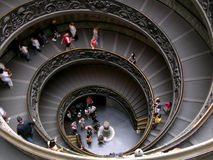 View of Vatican spiral stears. Tourist walking on the spiral stairs in Vatican museum Stock Image