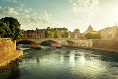 View of the Vatican at sunset time Stock Photo