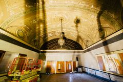 Vaulted Lobby - Abandoned Variety Theater - Cleveland, Ohio. A view of a vaulted arch lobby that remains inside the vintage and abandoned Variety Theater in stock photo