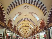 View of the vaulted ceiling of the Egyptian bazaar in Istanbul in perspective stock photography