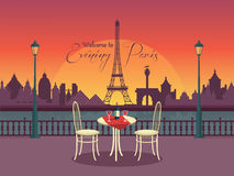 View of vector evening paris from the cafe Stock Photo
