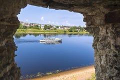View on Velikaya river from Pskov Kremlin Royalty Free Stock Photography