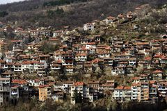 View of Veliko Tarnovo. Houses of Veliko Tarnovo famous as the capital of the Second Bulgarian empire. In the photo can be seen the town's houses Stock Images