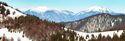 View from Velka Fatra mountains to Mala Fatra mountains. View from Velka Fatra mountains, Borisov Chalet and Mala Fatra mountains with mounts Krivan, Stoh and Stock Image
