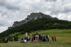 View of Velky Rozsutec peak located in the north part of Mala Fatra mountain, Northern Slovakia stock photos
