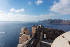 View on the Venetian castle ruin in Oia on the Mediterranean Sea Stock Photography