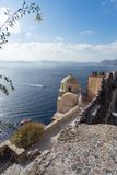 View on the Venetian castle ruin in Oia on the Mediterranean Sea Stock Photo