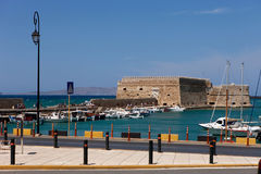 View of the Venetian Koules in Heraklion Stock Photos