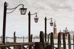 View of the Venetian Lagoon and the Church of San Giorgio Maggiore on island of the same name in Venice royalty free stock image
