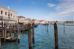 View of the Venetian Lagoon and the Church of San Giorgio Maggiore on island of the same name in Venice, Italy. VENICE, ITALY - 26 JUNE, 2014: View of the stock image