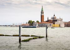View of the Venetian Lagoon and the Church of San Giorgio Maggiore on island of the same name in Venice, Italy. VENICE, ITALY - 26 JUNE, 2014: View of the royalty free stock photography