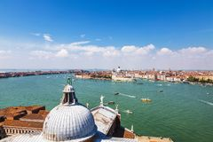 The view of the Venetian lagoon and Venice from the bell tower of the Cathedral of San Giorgio Maggiore Royalty Free Stock Images