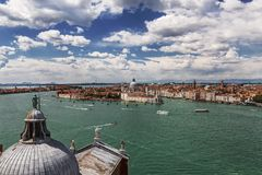 The view of the Venetian lagoon and Venice from the bell tower of the Cathedral of San Giorgio Maggiore Stock Photography