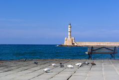 View on venetian lighthouse in Chania Stock Image