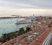 View of Venice with a bird's-eye view. View over the red rooftops of Venice, aerial view Stock Photo