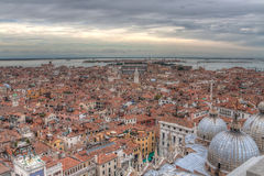 View of Venice with a bird's-eye view. View over the red rooftops of Venice, aerial view Royalty Free Stock Photos
