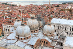 View of Venice with a bird's-eye view. View over the red rooftops of Venice, aerial view Royalty Free Stock Image