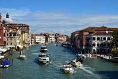 View of the street canal in Venice, Italy stock photos
