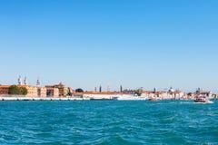 View of Venice city from giudecca canal Stock Photos