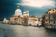 View of Venice in front of a big storm from the Canal Grande Royalty Free Stock Images