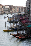 View of Venice gondolas from Rialto Bridge Royalty Free Stock Photography