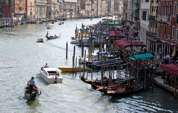 View of Venice gondolas from Rialto Bridge Stock Photo