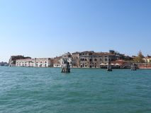 View of Venice, Italy and its other architecture from the Grand canal, clear day royalty free stock photo