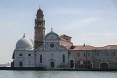 View from the Venice lagoon of the Church of San Michele in Isola on the cemetery island of San Michele, Venice Royalty Free Stock Photography