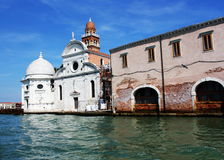 View from the Venice lagoon of the church of San Michele in Isola on the cemetery island of San Michele , Venice, Italy Stock Photo